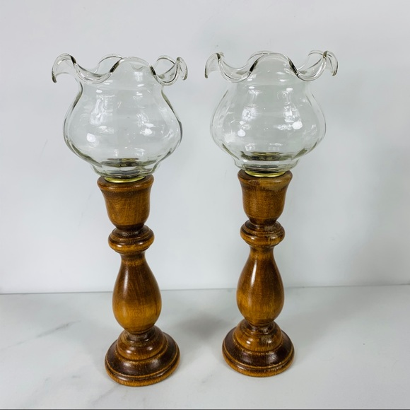 Early American Colonial Wood Fluted Candle Sticks